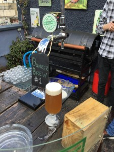 The first beer that we brewed in the bunker was on tap. It was an IPA